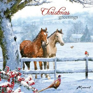CHARITY Christmas Cards   Festive Horse Snow Scene    Pack 10 of One Design