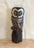 Brown Owl Stripy 25cm Wooden Hand Carved Wood Home Decor Sculpture Fairtrade