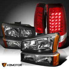 Fits 2003-2006 Chevy Silverado Black Headlights+Bumper Lamps+Red Led Tail Lights