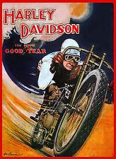 Vintage c1920 Harley Davidson Motorcycle Racing Ad Poster Wall Art Print