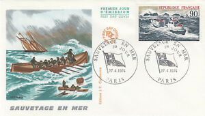 (86529) France FDC Lifeboats Sauvetage en Mer Paris 1974