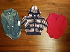 LOT OshKosh GAP Boy's Hooded Jacket Red Thermal Shirt Top Clothes 12-18 Months