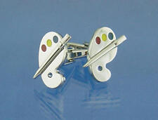 Silver With Coloured Paint Detail Artists Pallet Cufflinks With Gift Pouch Art