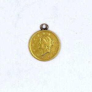 ANTIQUE 1852-O $1 LIBERTY HEAD 90% GOLD RARE US COLLECTIBLE COIN PENDANT