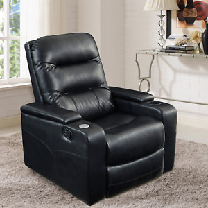 Home Theater Recliner Chair Sofa Seat Faux Leather Movie Padded USB Cup Holder