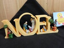 "NOEL Word Plaque NATIVITY Figures Inside Letters 4"" x 10"" Resin Christmas Decor"
