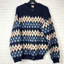 Vintage Knitting Mill Hekla Iceland Wool Nordic Cardigan Blue Sweater Men's L/XL