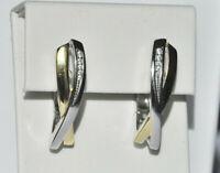 Echt 925 Sterling Silber Ohrringe Creolen vergoldet Zirkonia Hochzeit Nr 212