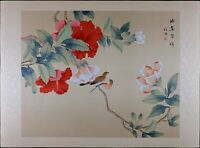 Vintage Asian Watercolor on Silk Paper, Oriental Painting, Birds on Peony Flower