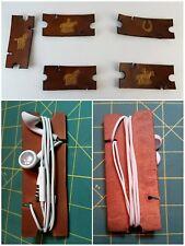 Leather headphone holder, cord winder, earbuds holder, ear bud winder, horses