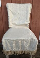 Gold Jacquard Floral Dining Chair Covers Slip Covers Tie Back Set Of 4
