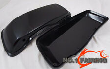 PAIR LEFT & RIGHT BLACK Saddlebag Lids fits for Harley Touring UNPAINTED