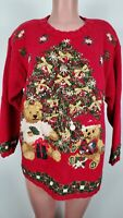 Vintage Tiara Womens Christmas Tree Sweater Red 2XL Gifts Toys 1996 Beaded