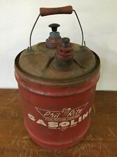 Vintage Phil-Rite 5 Gal. GASOLINE Can Push Button W/Stow-A-Way Hose Gas Pump