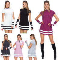 Womens Cable Knit Mini Dress Short Sleeves & Gloves Ladies Sweater Tunic FT5624