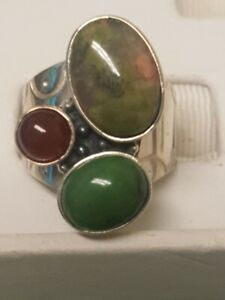 Jay King DTR Ring Sterling Silver Multi Agate 3 Stone Ring Size 6 M25
