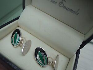 Attractive Sterling Silver & Enamel Cufflinks  + Box  -  Art Nouveau Style
