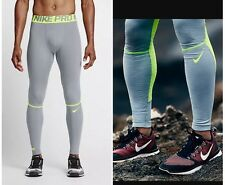 Nike Pro Hyperwarm Compression Dri-FIT Running Training Collant Gris Volt larg