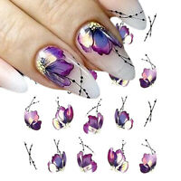 Nail Water Decals Purple Flower Patterns Transfer Stickers Nail Art Decoration