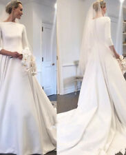 Elegant Ivory White A Line Satin Wedding Dresses Garden Bridal Gowns Custom Size