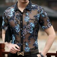 Chic Mens Summer See-through Blouse Short Sleeve Embroidery Flower T-Shirt Tops