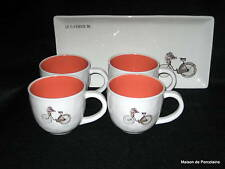 Rae Dunn MAGENTA EXCLUSIVE Bicycle  Bunny Flowers Basket 4 Mugs & Tray 2015
