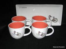 Rae Dunn MAGENTA Bicycle Easter Bunny Flowers Basket 4 Mugs & Tray 2015