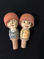 Hand Carved And Painted Wooden Vintage Wine Bottle Stoppers Set Of Two
