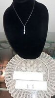 Set of Faux Diamond Necklace, Tennis Bracelet, Pendant Earrings