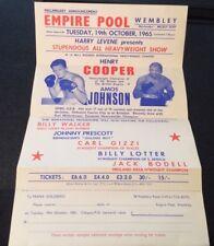 PUGILATO Flyer Empire POOL Wembley martedì 19th OTT 1965 HENRY COOPER V Amos Johnson