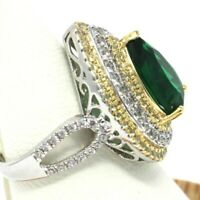Vintage Green Emerald Ring Women Wedding Engagement Holiday Jewelry Size 6 7 8 9