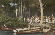 Monmouth ME Canoes & Boats Cobbossee Colony Hand Colored Postcard