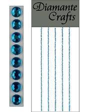 300 x 1mm Turquoise Diamante Self Adhesive Strips Rows Rhinestone Craft Gems