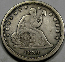 1839 Seated Liberty Quarter Dollar Nice EF... with Pleasing Antique Grey Toning!