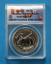 CANADA - 2012 Silver Moose 1oz coin (ANACS MS70 First Release)