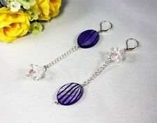 Purple Stripes MOP Shell Gemstone Clear Glass Flower Beads Asymmetric Earrings