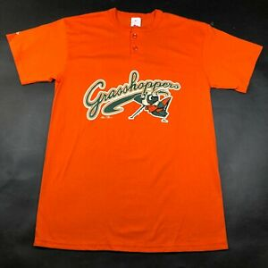 Greensboro Grasshoppers Mens L Orange T Tee Shirt Crew Neck 2 Button Henley 2006