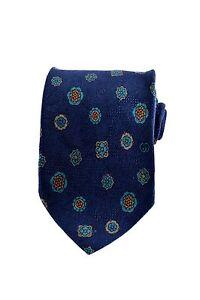 Gucci Mens 100% Fine Italian Silk Navy Blue Floral Accessory Neck Tie