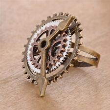 Fashion Unisex Jewelry Antique Steam Punk 3 Ring Clock Gear Fingering Ornaments