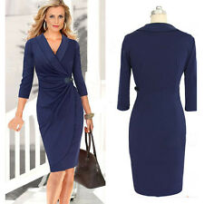 Womens Sexy V Neck Pleated Wrap Belted Midi Bodycon Cocktail Party Pencil Dress