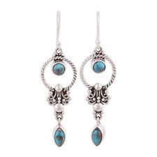 925 Silver Vintage Boho Turquoise Gemstone Drop Dangle Hooks Earrings Wholesale
