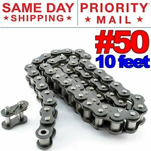 #50 Roller Chain x 10 feet + Free Connecting Links + Same Day Expedited Shipping
