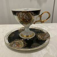 Vintage Shafford Black Hand Painted Teacup & Saucer Made in Japan With Gold Gilt