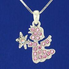 "W Swarovski Crystal Angel Cupid Charm Pink Pendant 18"" Chain Heaven Gift"