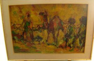 Vibrant Orientalist Oil on Board Signed J. F. Badawe