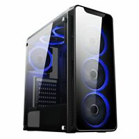 Cit Blaze Gaming Mid ATX PC Case 6x 12CM LED Ring Fan Blue Tower Tempered Glass