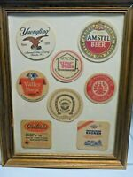 8 Vintage Beer Coaster Display In Wooden Frame