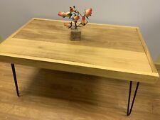 Hand Made Solid Wood Iroko African Teak coffee table Hairpin Legs