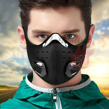 Reusable Black Face Mask with Filter Valves Neoprene Cycling Riding Outdoor