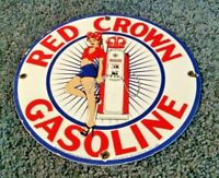 RED CROWN GASOLINE PORCELAIN GAS VINTAGE STYLE SERVICE PIN UP GIRL PUMP SIGN